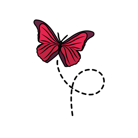 cute butterfly insect animal flying vector illustration