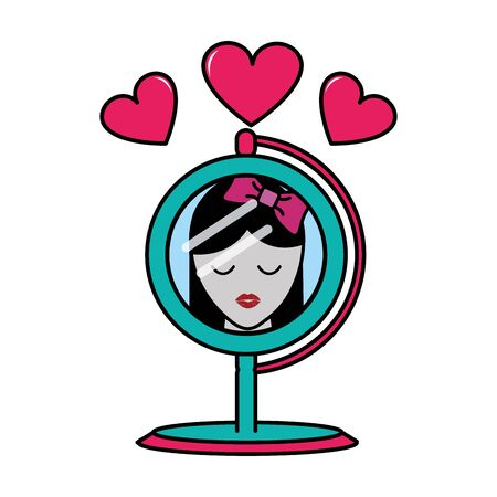 mirror object reflecting woman with hearts vector illustration