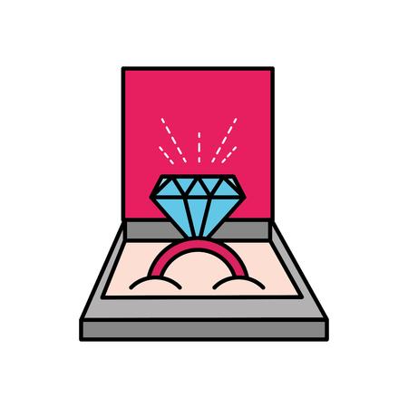 engagement wedding ring diamond inside box vector illustration Illustration