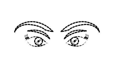 dotted shape beauty woman eyes with eyebrows and eyelashes vector illustration Vettoriali