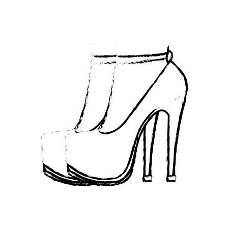 grunge woman feet inside heels high shoes vector illustration