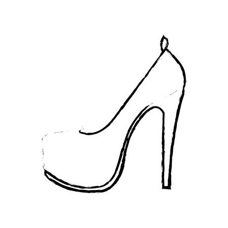 grunge woman fashion heels high shoes vector illustration Ilustração