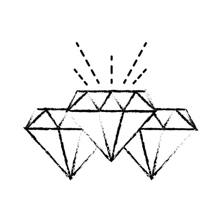 grunge diamonds crystal and precious gems stones vctor illustration