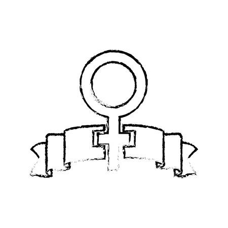 grunge women gender sign and ribbon design vector illustration  イラスト・ベクター素材