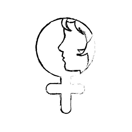 grunge contour woman with hair inside female sign vector illustration