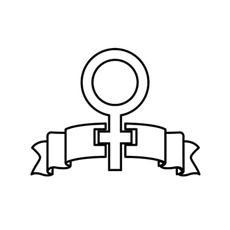 line women gender sign and ribbon design vector illustration  イラスト・ベクター素材