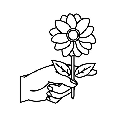 line woman hand with nice flower petals and leaves vector illustration