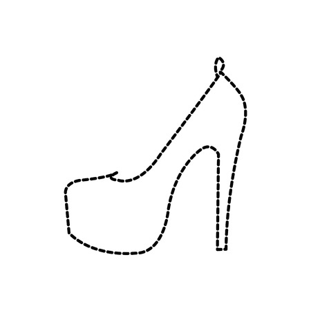 dotted shape woman fashion heels high shoes vector illustration