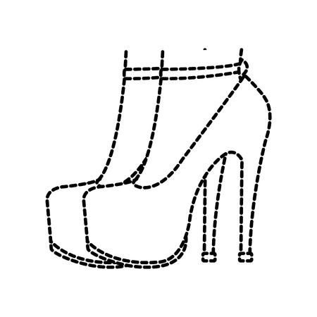 dotted shape woman feet inside heels high shoes vector illustration Ilustração