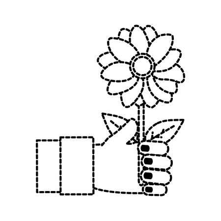 dotted shape woman hand with beautiful flower and petals vector illustration