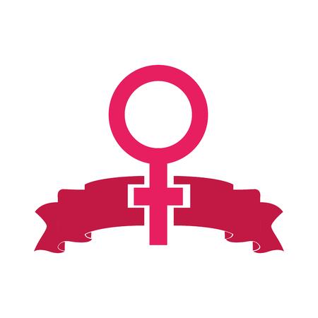 colorful women gender sign and ribbon design vector illustration