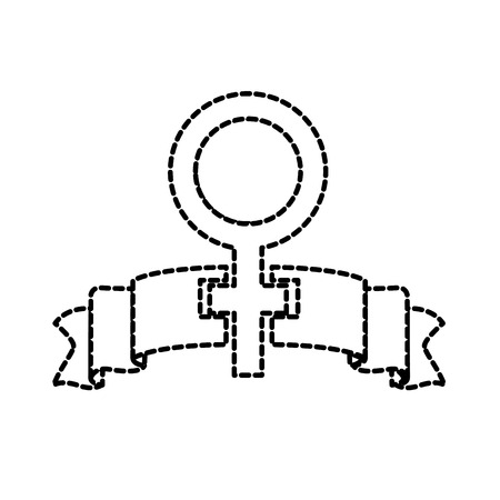dotted shape women gender sign and ribbon design vector illustration  イラスト・ベクター素材