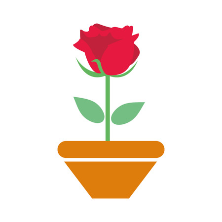 colorful nice rose with petals and leaves inside plantpot vector illustration Ilustração