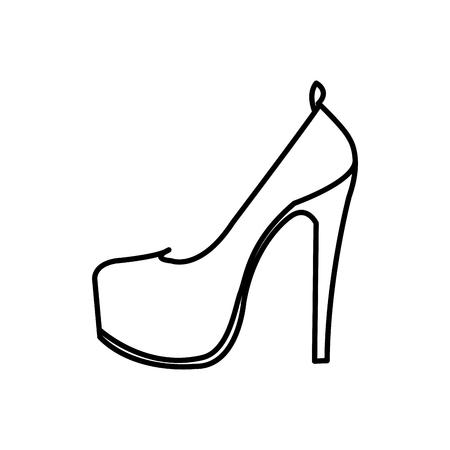line woman fashion heels high shoes vector illustration