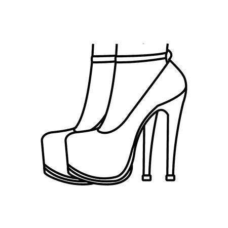 line woman feet inside heels high shoes vector illustration