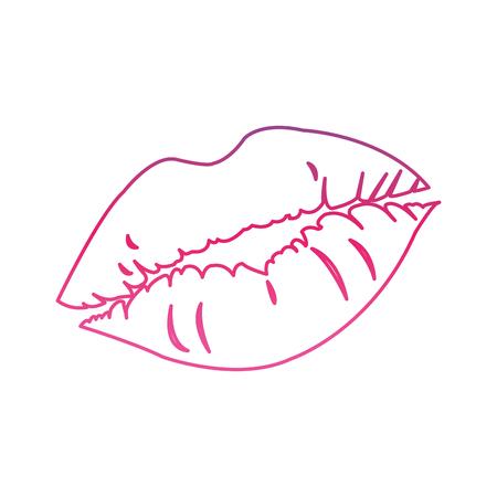 Degraded line woman seductive lips style icon