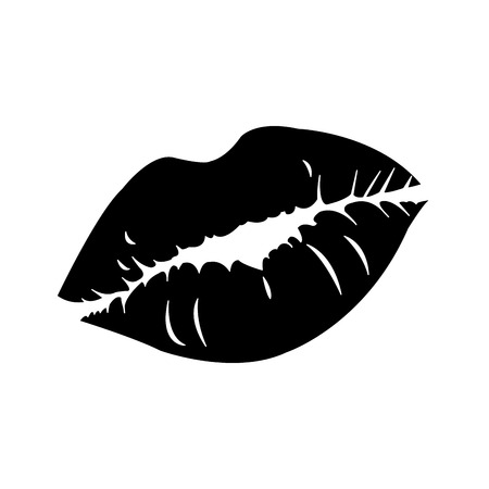Silhouette sexy woman lips style icon 向量圖像