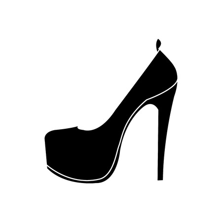 silhouette woman fashion heels high shoes vector illustration Stok Fotoğraf - 97190684