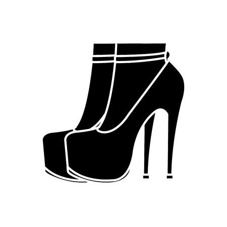 Silhouette woman foot inside high  heels shoes Vettoriali