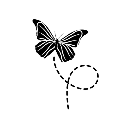 Silhouette of cute butterfly insect animal flying