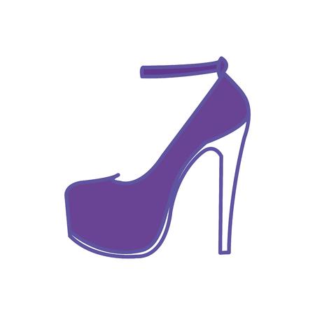 Duo color woman fashion heels high shoes Ilustração