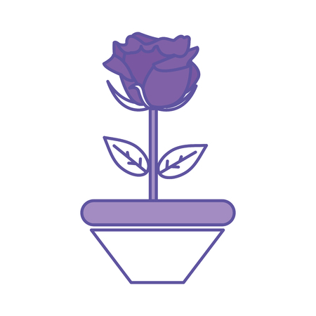 Duo color nice rose with petals and leaves inside plantpot  イラスト・ベクター素材