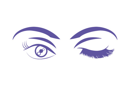 duo color woman stinging eye with eyebrows and eyelashes vector illustration  イラスト・ベクター素材