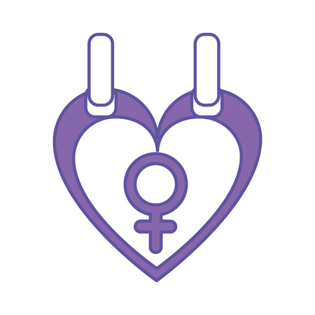 Duo color female gender sign inside heart graphic