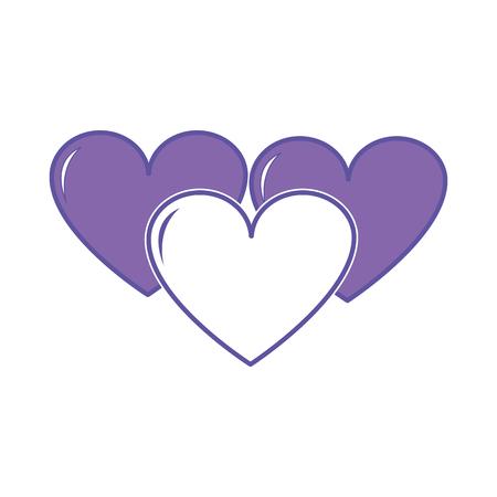 Duo color hearts love symbol of passion design icon