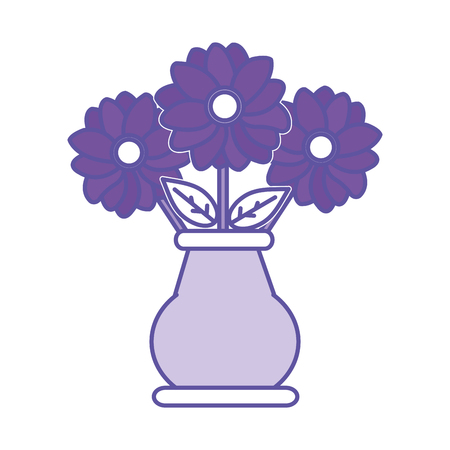 duo color flowers petals with leaves inside crystal jar vector illustration