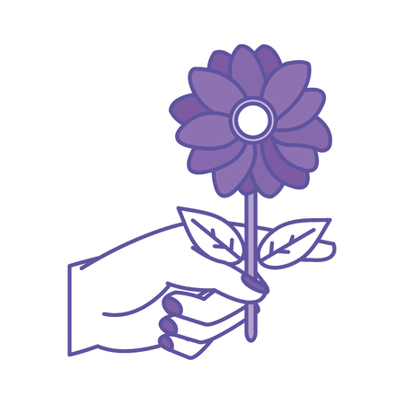 duo color woman hand with nice flower petals and leaves vector illustration