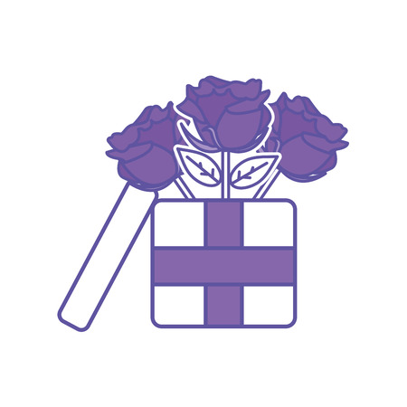 duo color roses petals with leaves inside present box vector illustration 矢量图像