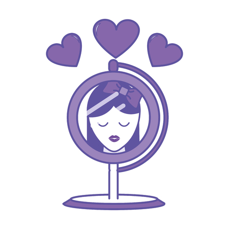 Duo color mirror object reflecting woman with hearts