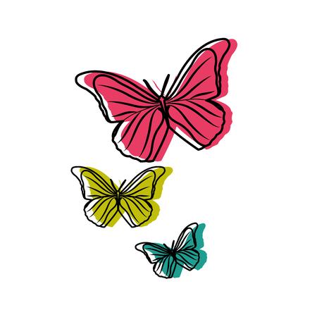 Colorful beauty nature butterflys animal flying Vektorové ilustrace