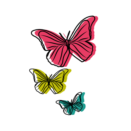 Colorful beauty nature butterflys animal flying Illustration