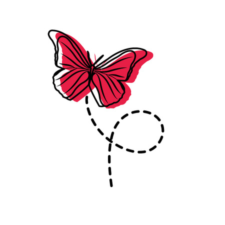 Moved color cute butterfly insect animal flying vector illustration