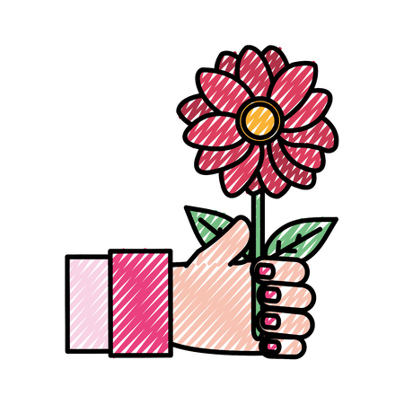 grated woman hand with beautiful flower and petals vector illustration