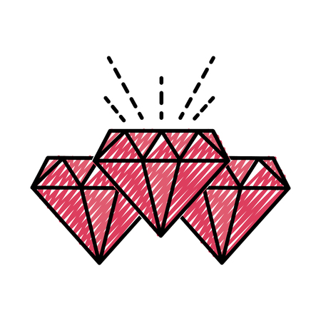 grated diamonds crystal and precious gems stones vctor illustration Illustration