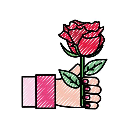 Woman hand with beautiful rose illustration.