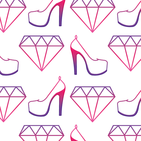 Neon line diamond crystal gem and heels high shoes background vector illustration