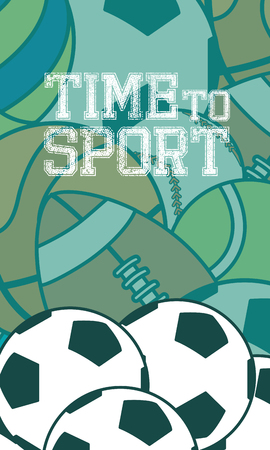 Time to sport concept with different types of ball on background.