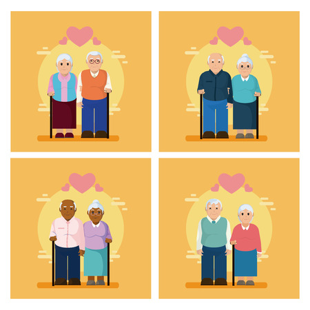 Cute grandparent couple collection Illustration