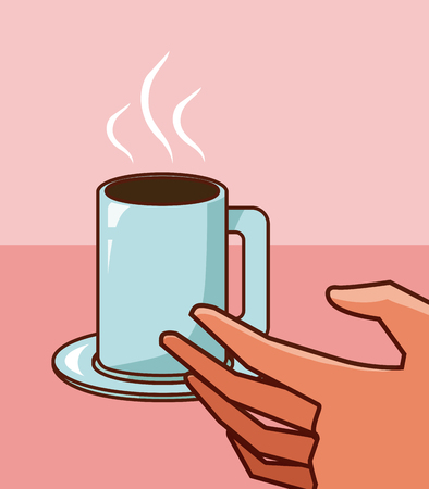 Hand grabbing coffee cup
