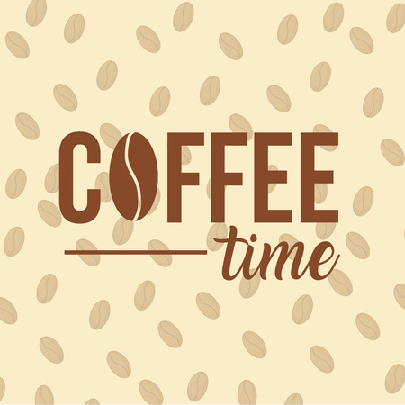 Coffee time frame with beans vector illustration graphic design