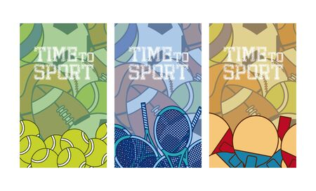 Time to sports cards vector illustration graphic design Vectores