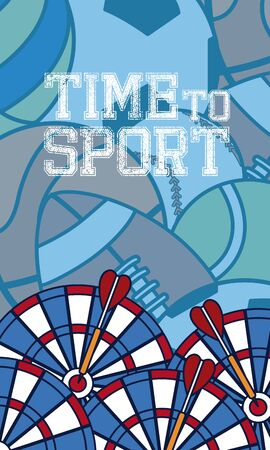 Time to sport concept card over sport balls background vector illustration graphic design