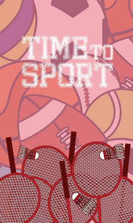 Time to sport concept card over sport balls background vector illustration graphic design