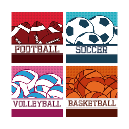 Sport balls on colorful squares