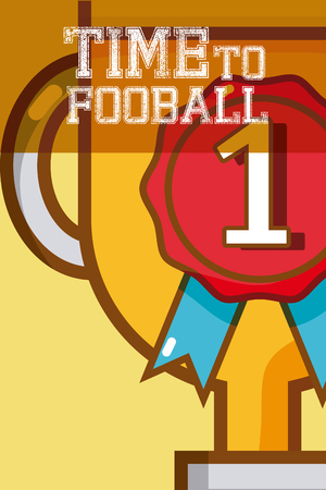 Time to football trophy cup vector illustration graphic design
