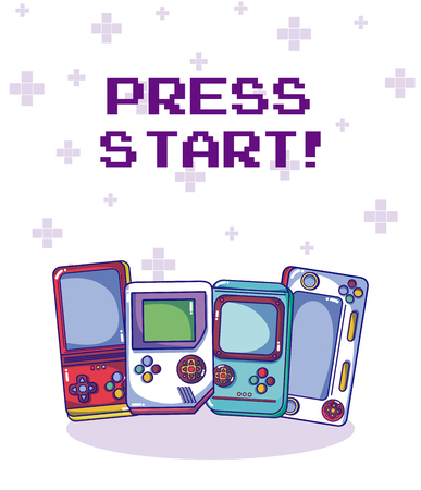 Videogame retro portable consoles vector illustration graphic design